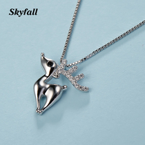 All the way deer have your elk necklace female tide clavicle chain 925 sterling silver ins Korean version simple personality temperament