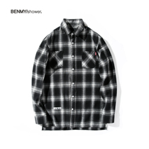 Black and white plaid shirt men and women loose shoulder long-sleeved plaid shirt original Tide brand brushed oversize shirt