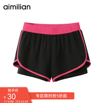 Amy love sports shorts female wear fake two anti-light summer loose running fitness black quick-drying casual pants