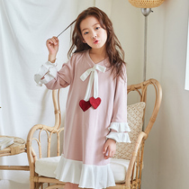 Children's pajamas girls nightdress cotton spring and autumn long-sleeved Princess big girl girl autumn and winter models home service