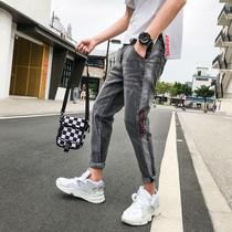 Jeans Men Korean version of the trend of small feet pants mens Tide brand casual sports pants autumn and Winter new pants mens trousers