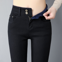 Plus velvet jeans female nine pants 2019 new high waist thick winter was thin wear black feet trousers