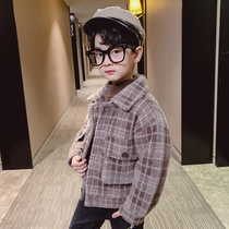Boys woolen coat short winter jacket 2019 new folder cotton large children imitation Marten Korean version of the Yang Qi