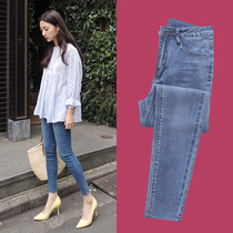Jeans female nine points 2019 new spring and autumn Korean version was thin high waist chic tight little feet to wear pants
