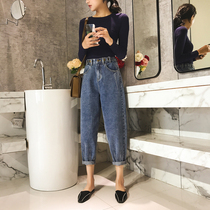 Adjust the button elastic waist loose Daddy jeans female nine pants