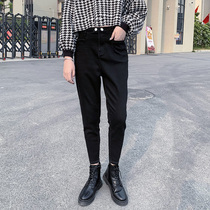 Black loose radish jeans female nine points 2019 autumn and Winter new high waist was thin Harlan Daddy feet pants