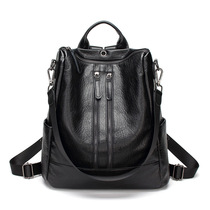 Kangaroo shoulder bag female 2019 new first layer of leather Korean fashion dual-use leather large-capacity backpack bag tide