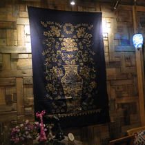 Hand-painted batik curtain tablecloth ethnic style retro wall painting Dali specialty blue dyed cloth gift to foreigners