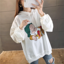 Spring and autumn thin section large size hooded sweater women 2019 loose bf Korean version of the Super fire cec cartoon coat coat tide ins