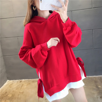 Slightly fat fake two sweater women 2019 autumn Korean version of the large size loose fat mm students aged long-sleeved shirt