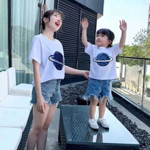 Not the same parent-child summer mother and daughter a family of three foreign Korean version 2019 loose cotton short-sleeved T-shirt