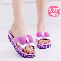 Summer shoes 2018 female models sandals thick bottom seaside girls large size indoor slippers women wear girls bow