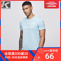 Kuegou men's short-sleeved T-shirt male Korean version of the letter printed shirt summer round neck casual clothes Tide 5916