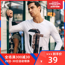 Special]autumn men's long-sleeved T-shirt men's fashion print slim round neck shirt Korean trend of autumn clothing 375