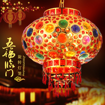 Colorful lanterns balcony entrance door aisle move Chinese festive ornaments electric rotating LED crystal chandelier