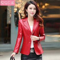 2019 spring new womens jacket small suit leather Korean slim short paragraph two long-sleeved suit PU leather