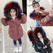 Girls cotton 2019 new Korean version of the winter long coat children padded cotton padded jacket winter clothing