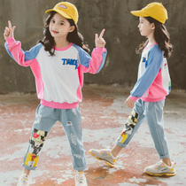 Childrens clothing girls Autumn Sweater suit 2019 new Korean fashion style childrens hole jeans suit