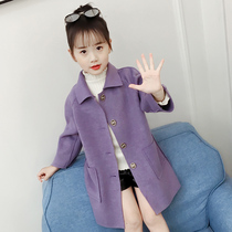 Girls woolen jacket 2019 autumn new Korean fashion in the long section of childrens clothing woolen coat in the big boy tide