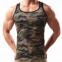 Men's sexy vest sports stretch breathable youth fitness straddle slim type tee tide