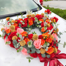 Large heart-shaped wedding car decoration car head flower suit three-dimensional personality orange red simulation Rose Chinese wedding flowers