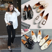 2019 new womens shoes Korean version of the 100-footed social original bean shoes students soft sister flat-bottomed womens single shoes