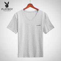 Playboy T-shirt men's short-sleeved summer sports fitness youth cotton round neck vest men's bottom t-shirt tide