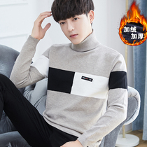 Mens turtleneck sweater with velvet thickening autumn and winter 2018 new trend bottom knitted shirt Korean version of slimming linens
