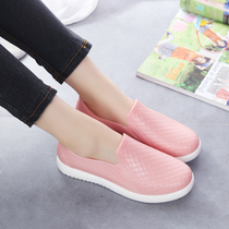 Korean rain boots ladies fashion adult shallow mouth low to help short tube couple non-slip water shoes kitchen work plastic shoes women