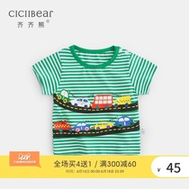 Qi Qi bear 2019 summer boys and girls car print short-sleeved baby baby cotton casual striped T-shirt