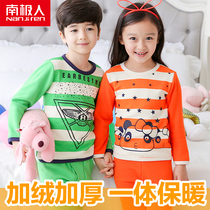 Antarctic childrens clothing childrens thermal underwear set winter autumn clothing qiuku plus velvet padded boys and girls baby baby