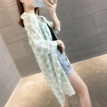 In the long section of the knee thin section sunscreen foreign plaid shirt female design sense niche summer new 2019 Han Fan Chao