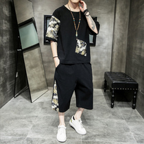 Mens short-sleeved T-shirt suit Chinese style mens printing trend pants two-piece Summer round neck five-point sleeve