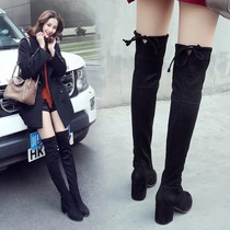 Rough with boots female small pepper knee boots high boots with long boots and velvet high boots 2018 Winter new