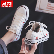 Pull back hand-painted shoes peaches cooked white shoes female 2019 tide shoes summer autumn board shoes new Korean canvas shoes