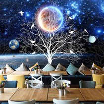 3D three-dimensional personality Dream Star background wall paper ceiling bar bedroom wallpaper restaurant ktv cafe wallpaper