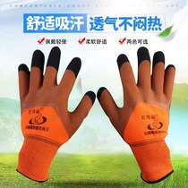 Special magnificent blessing 12 double latex foam King dipped wear-resistant non-slip breathable gloves to strengthen the finger
