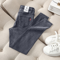 Smoke gray jeans female foreign Gray 2019 New tight feet high waist was thin long version of the tall trousers