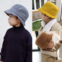 Winter childrens fishermans cap boys in the Big childrens Lamb cashmere hat tide Korean version of the warm Japanese pot cap parent-child cap