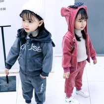 584361a2a630 Baby winter female baby foreign style set 0 children 2 Plus cashmere 4  thick 1-