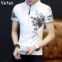 Mens Tide brand ins short-sleeved T-shirt male 2019 summer new casual polo shirt trend personality half-sleeved mens clothing