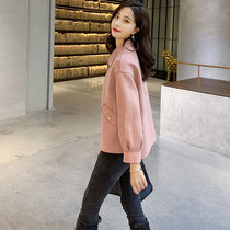 Pink deerskin short jacket female spring 2019 New early autumn suede short Wild small man ins jacket tide