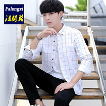 Plaid shirt male long-sleeved Korean youth students classic plaid clothing Hong Kong wind casual handsome loose shirt