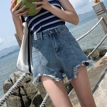 Denim shorts female 2019 summer new high waist Korean version was thin wild wide leg irregular a word hot pants
