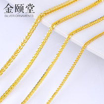 Chopin chain s925 sterling silver necklace unisex plating 18k yellow gold 24K long thick sweater chain foxtail chain
