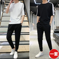 Short-sleeved t-shirt mens 2019 new summer suit casual sports handsome set of clothes Korean version of the trend summer dress