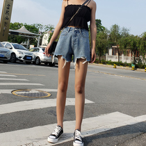 Summer denim shorts female high waist 2019 New wear tide Korean loose thin a word net red short hot pants