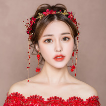 Bride headdress 2019 new wedding Red Wedding Hair Accessories Korean Super cents toast Sen Department of Han Clothing accessories