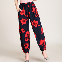 Middle-aged mother Lantern pants cotton loose large size mother home pants elderly summer pajamas thin section