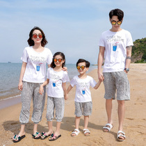 Summer fashion parent-child wear a family of three four holiday beach short-sleeved couple suit Foreign mother and daughter two-piece suit